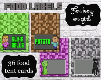 SUPER SALE!!! Mine Themed Birthday Party Printable Personalized Food Labels