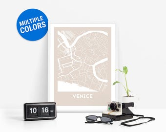 Venice Full Color Map Print | Venice Italy Map | Venice Art