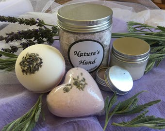 Lavender Gift Set Bath Salt Bath Bomb Face Scrub Mask Lip Balm