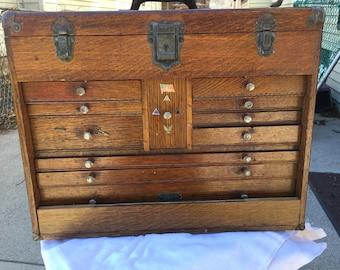 H. Gerstner Vintage 11 Drawer Oak Machinist Chest Tool Box w/ Mirror, No Cover