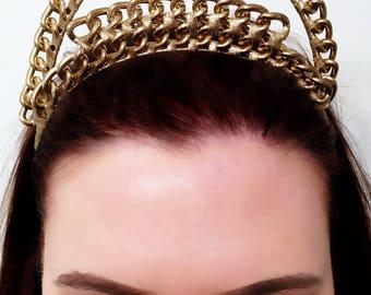 Gold headpiece, Gold crown, chain Crown, crown, gold, metal crown, gold headpiece, fascinators, chains, hairpieces.