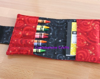 Crayon Notepad Holder Medium- Red Stars w/ Black - Toddler Coloring, Kids Art Supplies, Crayon Holder, Crayon Notebook, Stocking Stuffer