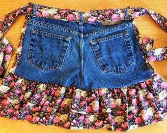 Darling Denim Jean and Cotton Half Apron w/ Floral Print