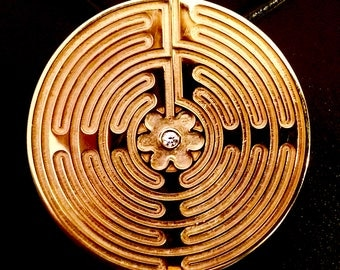 The Chartres Labyrinth Pendant - Gold w/ diamond