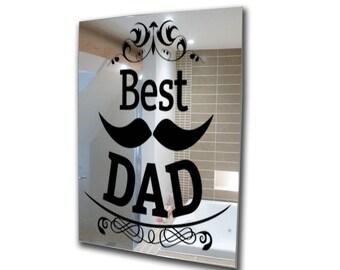 Decorative mirror-fathers day-decal mirror-moustache mirror-acrylic mirror  mirror-home decor-3mm framed acrylic mirror wall art A2 A3 A4 A5