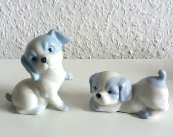 Vintage dog couple 90's blue/white puppies couple