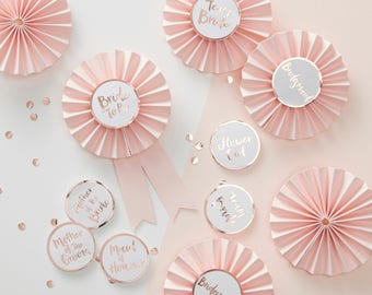 Pink & Rose Gold Hen Party Badges, Bride to Be Badges, Bridal Party Badges, Bride to Be, Team Bride, Mother of Bride, Mother of Groom
