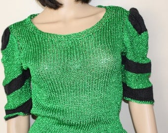 Rare sweater wool black cotton and Lurex green style Manoush knitted mesh hand new
