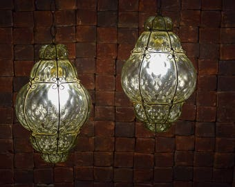 Rare Iconic Vintage Moroccan Style Textured Mid-Century Hanging Lamps. Convo for shipping quote.
