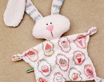 Pink Rabbit nursery comforter/plush baby bunny with long ears/cuddly toy/cute plushe/cupcake nursery comforter/Baby girl nursery gift