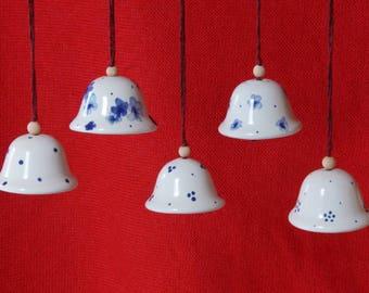 Bell, ceramic Bell, refrigerator, work, gift tags, wall decorations, Blauweißkeram, decoration, bells, mini Bell, point decor, Raumschmuckr