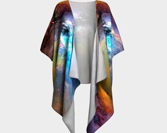 Orion Nebula, Draped Kimono, Kimono Wrap, Nebula, Shawls, Wraps, Draped Blouse, Bohemian, Colorful Wrap, Shrug, Shawl, Coverup, Silky Kimono