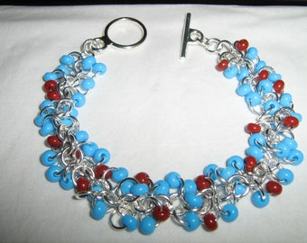 Shaggy Loops Turquoise and Brick Red Bracelet