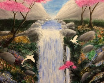 Exotic Birds and Waterfall