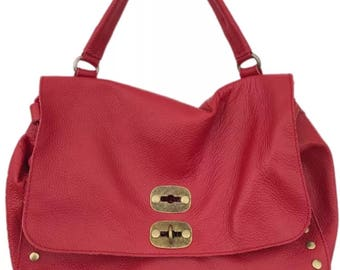 genuine leather handbag Red