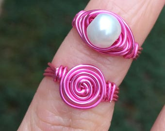 Childrens pink wire pearl or rosette ring little girl toddler teen princess sizes