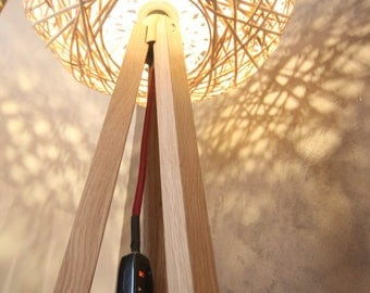 Oak 3 legged Floor Lamp