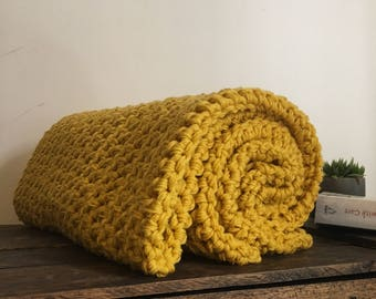 100% Handcrafted Crochet Throw Rug Mustard