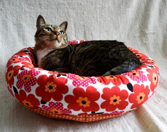 DIY Red Flower Cotton Fabric Two-Way Round Cat Small Dog Pet Bed