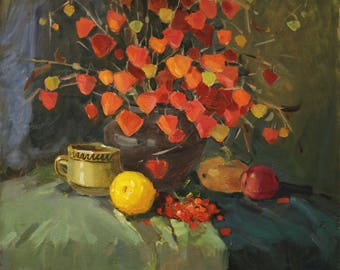 Original Art Impressionism Still life Flowers Painting Oil on canvas Painting Physalis BOUQUET Stretched Painting