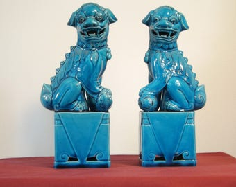 Vintage ceramic turquoise Foo Dogs, Mythic chinese Shishi, Chinese guardian lions, Foo Dogs figurines, Glazed Blue, Home Decor