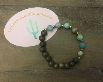 Grey Beachwood & Amazonite Bracelet