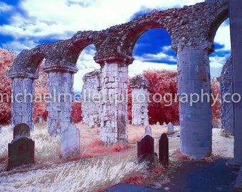 Colour Infrared Church ruins in Orford, perspex print