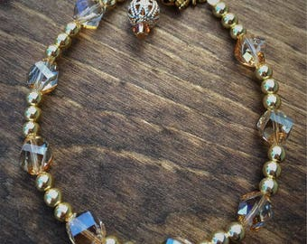 Adult Sized Gold and Champagne Bracelet