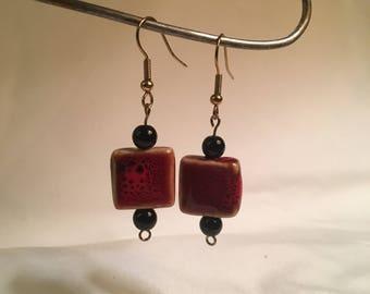 Square Stone Drop Earrings