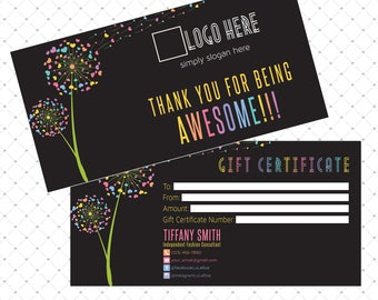 Gift Certificate, Lula Gift. Home Office Approved, Dandelion, Personalized, Printable Card, Digital File, Marketing, Fashion Retailer LLR02