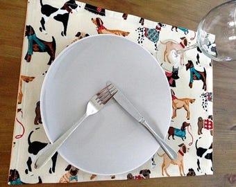 Handmade fabric set for 4 dinner place mats Dog prints