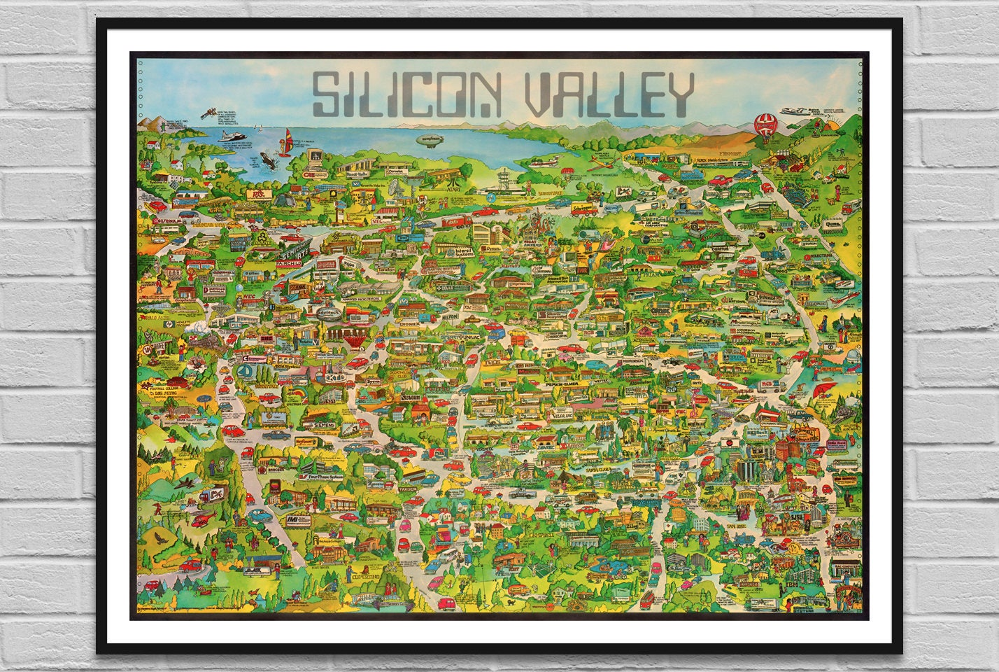 Silicon Valley California Map Corp US Old Map IT Digital - Big map of us poster