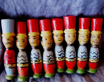 Vintage wooden soldier skittles bowling pins 1930s