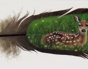 Hand Painted Wild Turkey Feather-Fawn on Pre-tail