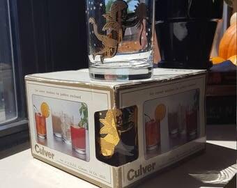 Culver Glass cherub glasses with box.