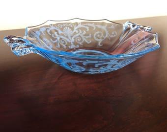 Fostoria Azure/Blue Versailles Sweet Meat Bowl