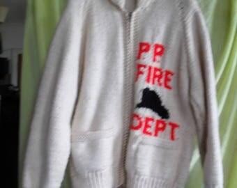 Firemans zip-up cardigan