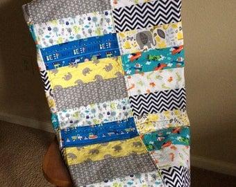 Baby Boy Quilt, Crib Quilt, Baby Boy Blanket, Baby Shower Gift, Crib Bedding