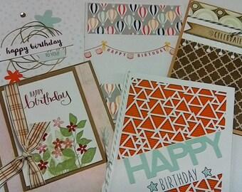 5 Handmade birthday cards with envelopes