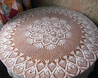 White Extra Large Vintage Crochet Doily 190cm Crochet Napkin Handmade Tablecloth Homedecor Doilies