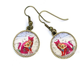 Cats shabby on cabochon earrings, mother's day