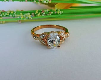 14k Rose Gold Engagement Ring, Art Deco Rose Gold Wedding and Promise Ring.
