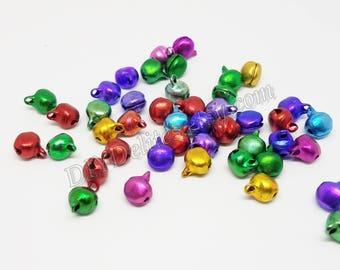 6mm Jingle Bells, Small Jingle Bells, Mini Jingle Bells, Multi-Color Bells, Tiny Bells, Bell Beads, Christmas Bells, Christmas Jingle Bells