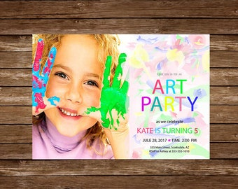 Art Party Invitation, Art Invitation, Art Birthday Party, Paint Party Invitation, Painting Party, Drawing Party, Art Themed Party, jpg 8