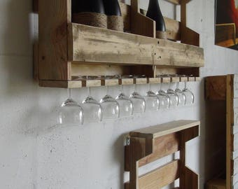 Shelf for bottles and glasses (wine or other)