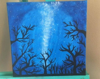 Acrylic Painting of a Starry Night Sky