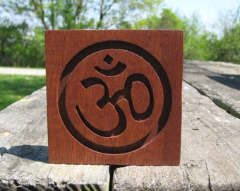 Reclaimed Wood Mahogany Om Symbol Plaque - Deep Red