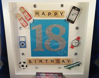 Happy 18th Birthday Scrabble Frame