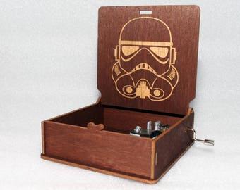 "Clone Trooper - Engraved Wooden Music Box - ""Star Wars Theme""- Jedi Sith Darth Vader - Hand Crank Movement"