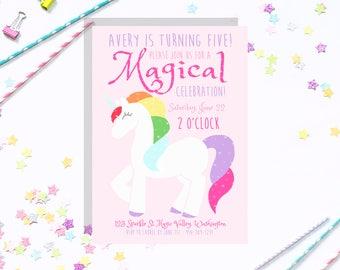 Rainbow Unicorn Customizable Party Invitation Package